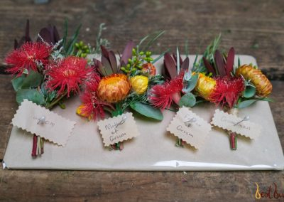 Buttonhole Native flowers red and orange