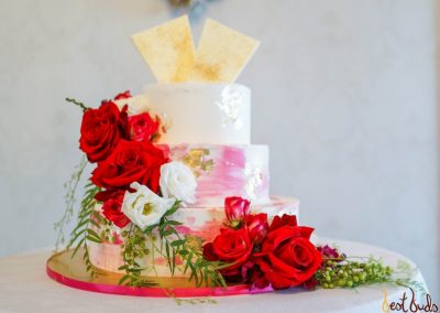Cake Floral Red & White